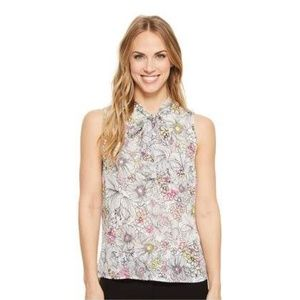 Tommy Hilfiger Ivory Pink Floral Sleeveless Top